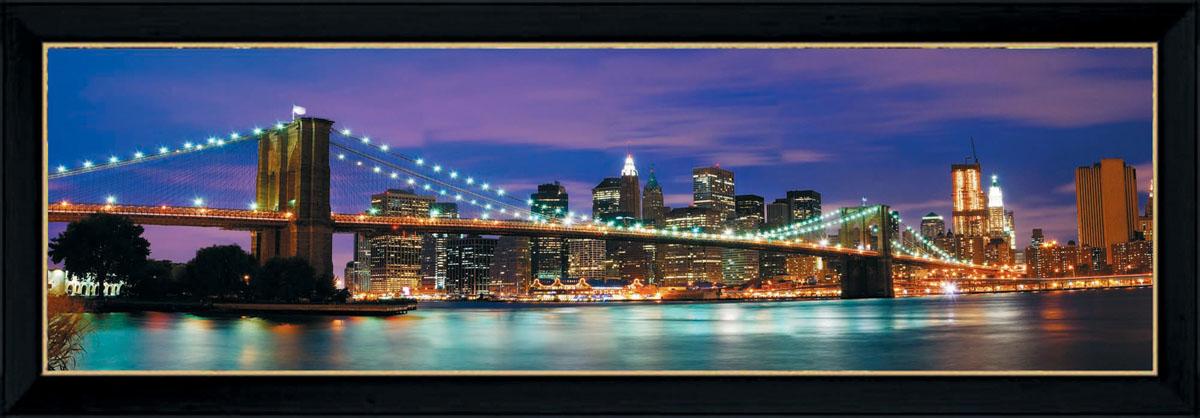 Постер в раме Postermarket Бруклинский мост, 95 х 33 смPM-3302Картина для интерьера (постер) - современное и актуальное направление в дизайне любых помещений.Постер с красочным изображением Бруклинского моста оформлен в раму черного цвета, выполненную из пластика. Картина защищена прозрачным пластиком. С задней стороны имеются петельки для подвешивания к стене. Картина может использоваться для оформления любых интерьеров: - дом, квартира (гостиная, спальня, кухня, прихожая, детская); - офис (комната переговоров, холл, кабинет); - бар, кафе, ресторан или гостиница.Картины, предоставляемые компанией Постермаркет:- собраны вручную из лучших импортных комплектующих; - надежно упакованы в пленку с противоударными уголками.