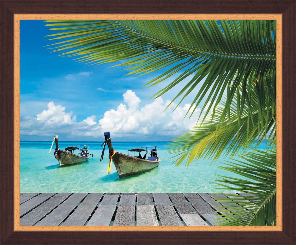 Постер в раме Postermarket Лодки, 50 х 40 смPM-4007Картина для интерьера (постер) - современное и актуальное направление в дизайне любых помещений.Постер с красочным изображением лодок на тропическом побережье оформлен в раму коричневого цвета, выполненную из пластика под дерево. Картина защищена прозрачным пластиком. С задней стороны имеется петелька для подвешивания к стене. Картина может использоваться для оформления любых интерьеров: - дом, квартира (гостиная, спальня, кухня, прихожая, детская); - офис (комната переговоров, холл, кабинет); - бар, кафе, ресторан или гостиница.Картины, предоставляемые компанией Постермаркет:- собраны вручную из лучших импортных комплектующих; - надежно упакованы в пленку с противоударными уголками.