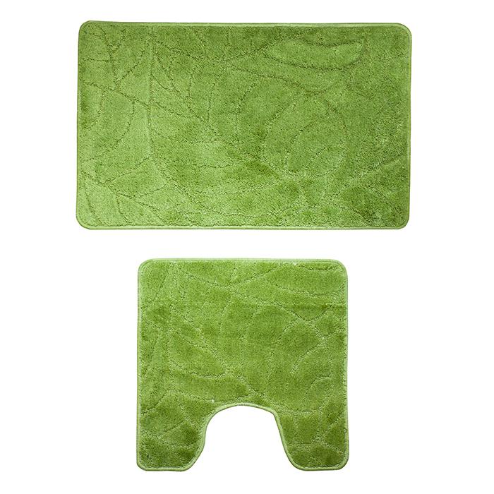Набор ковриков для ванной комнаты Milardo Summer heights, цвет: зеленый, 2 шт500PA58M13Набор Milardo Summer heights включает два коврика для ванной комнаты: прямоугольный и с вырезом. Коврики изготовлены из полиэстера и акрила. Это экологически чистый, быстросохнущий, мягкий и износостойкий материал. Красители устойчивы, поэтому коврики не потускнеют даже после многократных стирок в стиральной машине. Благодаря латексной основе коврики не скользят на полу. Края изделий обработаны оверлоком. Можно использовать на полу с подогревом. Рекомендации по уходу:- Разрешена стирка в стиральной машине при температуре 40°С при щадящем режиме отжима. - Нельзя гладить. - Нельзя отбеливать. - Химчистка запрещена.