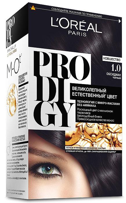 LOreal Paris Краска для волос Prodigy без аммиака, оттенок 1.0, ОбсидианA7674300Краска для волос серии «Prodigy» совершила революционный прорыв в окрашивании волос. Новейшая технология состоит в использовании особых микромасел, которые, проникая в самый центр волоса, наполняют его насыщенным, совершенным свой чистотой цветом. Объемный цвет, полный переливов разнообразных оттенков достигается идеальной гармонией красящих пигментов. Кроме создания поразительного цвета микромасла также разглаживают поверхность волос, придавая тем самым ослепительный блеск. Равномерное окрашивание волос по всей длине, эффективное закрашивание седины и сохранение здоровой структуры волос — вот результат действия краски «Prodigy» без аммиака.В состав упаковки входит: красящий крем (60 г); проявляющая эмульсия (60 г); уход-усилитель блеска (60 мл);пара перчаток; инструкция по применению.1. Доносит цветовые пигменты в самый центр волоса 2. Кремовая текстура без запаха аммиака 2. Стойкая краска без аммиака 3. До 100% закрашивания седины