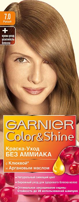 Garnier Краска-уход для волос Color&Shine без аммиака, оттенок 7.0, РусыйC2854811Garnier Color&Shineкраска-уход, без аммиака, которая не только бережно ухаживает за волосами, делая их мягкими, но и оптимально закрашивает седину. Она обогащена экстрактом клюквы, признанным антиоксидантом, который продлевает сияние цвета Ваших волос надолго. Благодаря питательным свойствам арганового масла Ваши волосы защищены от сухости, а блеск максимально усилен. Ваши волосы несравненно мягкие, цвет сияющий,стойкий в течение 28 использований шампуня. Узнай больше об окрашивании на http://coloracademy.ru/.В упаковки содержится: флакон с молочком-проявителем (60 мл); тюбик с крем-краской (40 мл); крем-уход усилитель блеска после окрашивания; инструкция; пара перчаток.