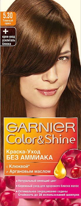 "Garnier Краска-уход для волос ""Color&Shine"" без аммиака, оттенок 5.30, Темный орех"