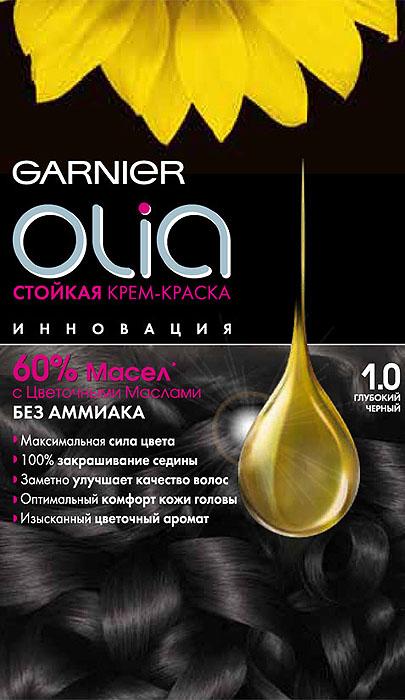 Garnier Стойкая крем-краска для волос Olia без аммиака, оттенок 1.0, Глубокий черныйC4681701Garnier Olia - первая стойкая крем-краска без аммиака c цветочным маслом. Olia обеспечивает максимальную силу цвета и заметно улучшает качество волос. Обеспечивает уникальное чувственное нанесение, оптимальный комфорт кожи головы и обладает изысканным цветочным ароматом.Узнай больше об окрашивании на http://coloracademy.ru// В состав упаковки входит: тюбик с молочком-проявителем; тюбик с крем-краской; флакон с бальзамом-уходом для волос Шелк и Блеск;инструкция; пара перчаток .
