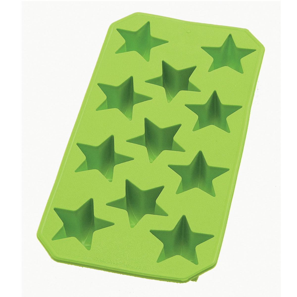 Форма для льда Lekue Звезды, цвет: зеленый, 11 ячеек0851400V02C049Форма для льда Lekue Звезды выполнена из силикона зеленого цвета. На одном листе расположено 11 формочек в виде звезд. Благодаря тому, что формочки изготовлены из силикона, готовый лед вынимать легко и просто. Чтобы достать льдинки, эту форму не нужно держать под теплой водой или использовать нож.Теперь на смену традиционным квадратным пришли новые оригинальные формы для приготовления фигурного льда, которыми можно не только охладить, но и украсить любой напиток. В формочки при заморозке воды можно помещать ягодки, такие льдинки не только оживят коктейль, но и добавят радостного настроения гостям на празднике!