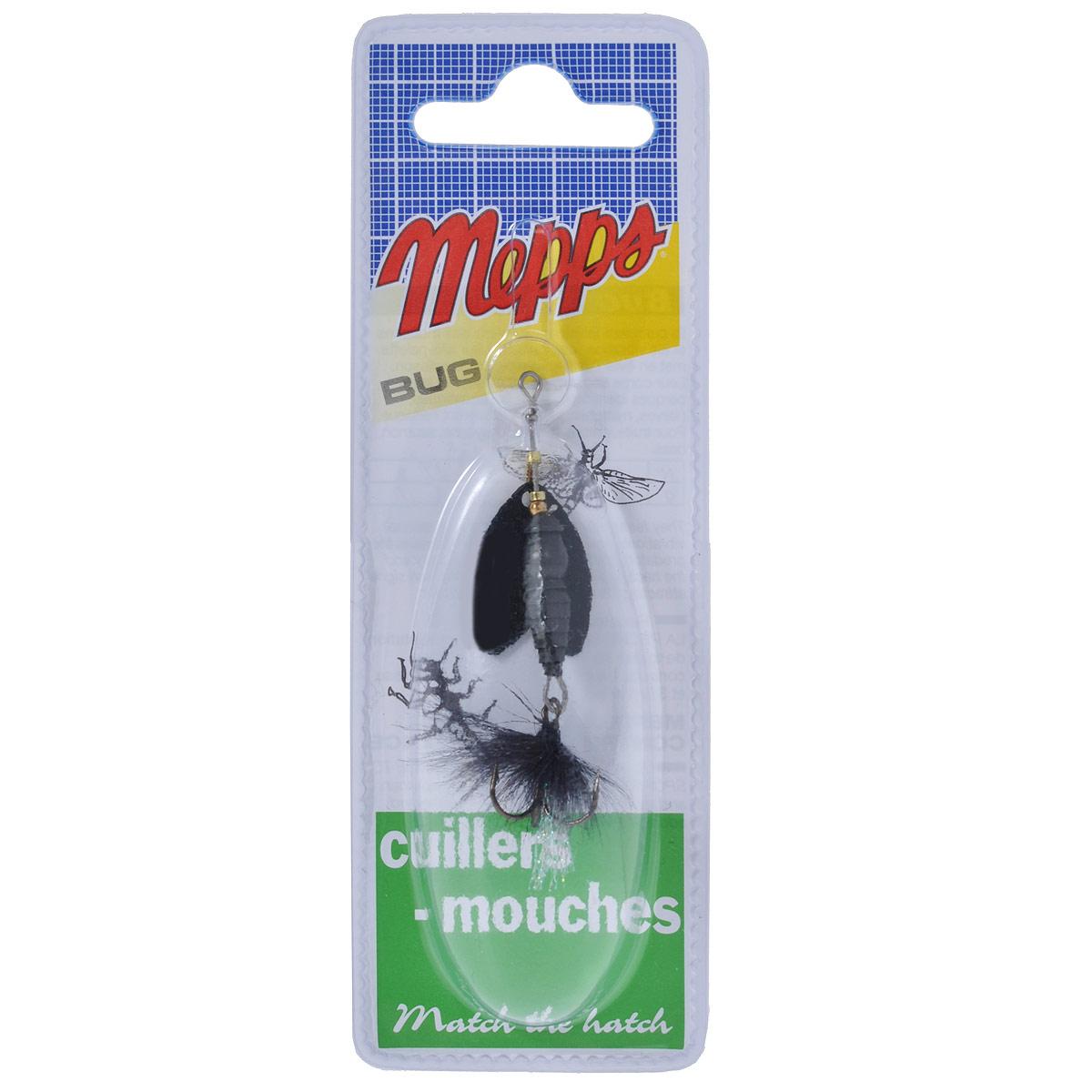 Блесна Mepps Bug Perla, вращающаяся, №15856Вращающаяся блесна Mepps Bug Perla оснащена классическим имитационным сердечником (с неподвижными отбойниками и одиночными подшипниками под дужками), напоминающим по форме личинку насекомого. Очень широкие лепестки имитируют полураскрытые крылья насекомого. При вращении раздвоенная форма лепестка не сохраняет своих очертаний. Это же относится и к вибрирующему при проводке имитационному сердечнику. Опушка тройника, насыщенная микроблестками, обеспечивает дополнительные сигналы, привлекающие хищника.