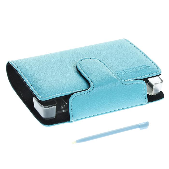 Кожаный чехол со стилусом для приставки DS Lite (цвет голубой), Black Horns