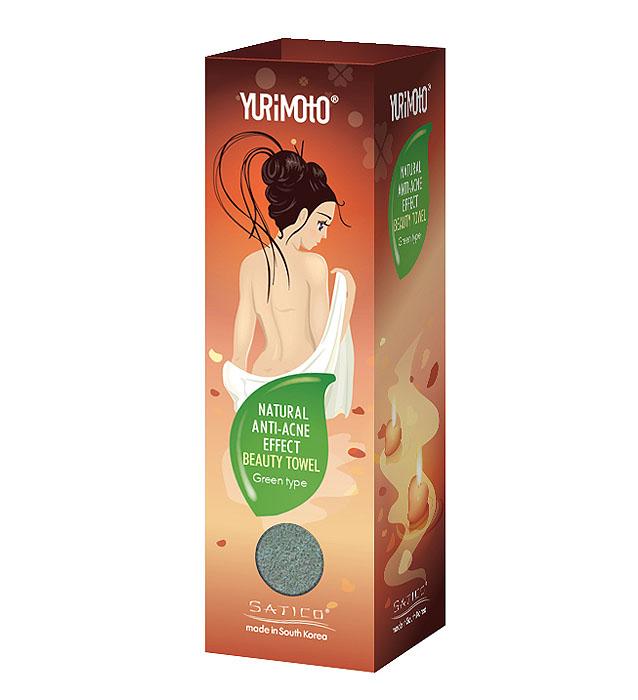 """Satico Мочалка """"Yurimoto"""" с анти-акне эффектом с экстрактом зеленого чая, мягко-средняя"""