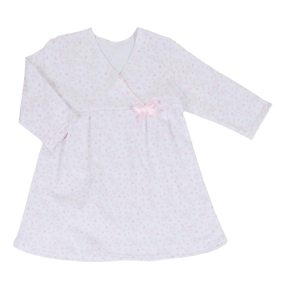 Сорочка ночная для девочки Трон-плюс, цвет: белый, розовый, рисунок мишки. 5522. Размер 98/104, 3-5 лет5522Яркая сорочка Трон-плюс идеально подойдет вашей малышке и станет отличным дополнением к детскому гардеробу. Теплая сорочка, изготовленная из футера - натурального хлопка, необычайно мягкая и легкая, не сковывает движения ребенка, позволяет коже дышать и не раздражает даже самую нежную и чувствительную кожу малыша. Сорочка трапециевидного кроя с длинными рукавами, V-образным вырезом горловины. Полочка состоит из двух частей, заходящих друг на друга. По переднему и заднему полотнищам юбки заложены небольшие складки. Сорочка оформлена атласным бантиком.В такой сорочке ваш ребенок будет чувствовать себя комфортно и уютно во время сна.