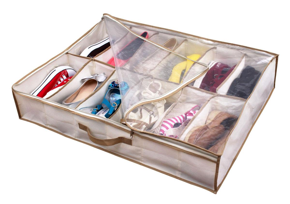 Чехол для хранения обуви Hausmann, 74,5 см х 60 см х 15 смDV-201Чехол для хранения обуви Hausmann, изготовленный из вискозы, содержит 12 секций. Особое строение полотна создает естественную вентиляцию: материал дышит и позволяет воздуху свободно проникать внутрь чехла, не пропуская пыль. Закрывается чехол прозрачной полиэтиленовой крышкой на молнию, что позволяет увидеть, какие вещи находятся внутри. Чехол защищает от пыли, грязи и насекомых.Чехол для хранения обуви Hausmann сэкономит место и сохранит порядок в вашем доме.