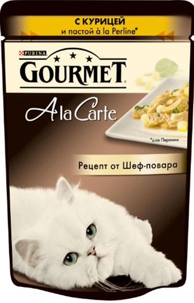 Консервы Gourmet A la Carte, для взрослых кошек, с курицей, пастой a la Perline и шпинатом, 85 г12242400Корм Gourmet A la Carte – это изысканные блюда, приготовленные по рецептам от шеф-повара. Прекрасное сочетание рыбного или мясного ассорти с тщательно подобранными ингредиентами, такими как овощи, рис или паста, создают утонченную гармонию текстуры и вкуса. Рекомендации по кормлению: Суточная норма: 3-4 пакетика в день для взрослой кошки (средний вес 4 кг), в два приема.Данная суточная норма рассчитана для умеренно активных взрослых кошек, живущих в условиях нормальной температуры окружающей среды. В зависимости от индивидуальных потребностей кошки норма кормления может быть скорректирована для поддержаниянормального веса вашей кошки.Подавайте корм комнатной температуры. Следите, чтобы у вашей кошки всегда была чистая, свежая питьевая вода. Состав: мясо и продукты переработки мяса (в том числе курицы), экстракт растительного белка, овощи (в том числе шпинат), рыба и продукты переработки рыбы, минеральные вещества, хлебобулочные изделия (в том числе паста), сахара, красители, витамины.Добавленные вещества: витамин A 735 МЕ/кг; витамин D3 113 МЕ/кг; витамин Е 16,5 МЕ/кг; железо 8,5 мг/кг; йод 0,2 мг/кг; медь 0,7 мг/кг; марганец 1,6 мг/кг; цинк 15 мг/кг.Гарантированные показатели: влажность 79,5%, белок 13%, жир 2,7%, сырая зола 2,4%, сырая клетчатка 0,1%.Условия хранения: закрытый пакетик хранить в сухом прохладном месте. После открытия хранить в холодильнике максимум 24 часа.Товар сертифицирован.