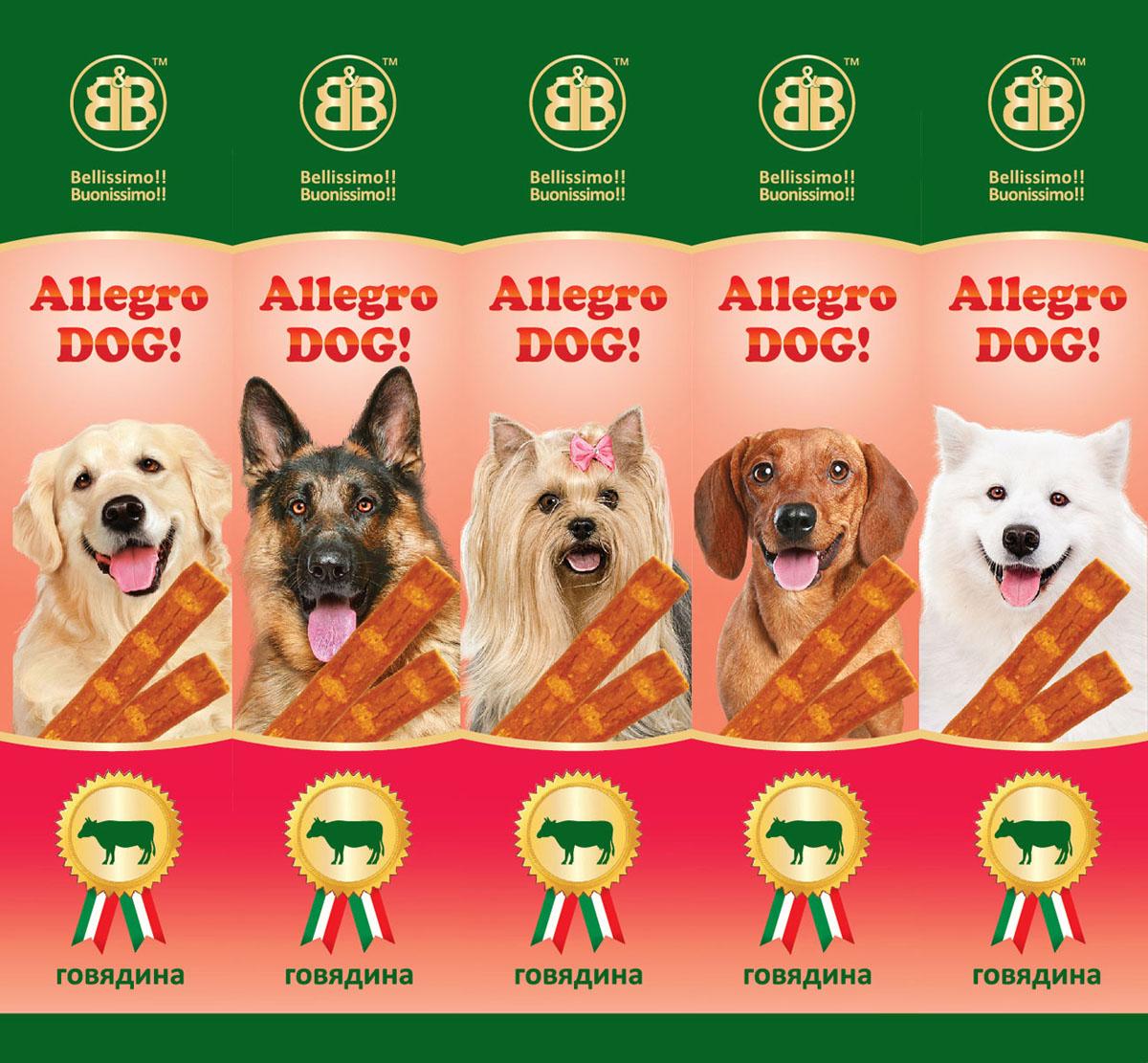 Лакомство для собак B&B Колбаски Allegro Dog, говядина, 5х10 г лакомство для собак b
