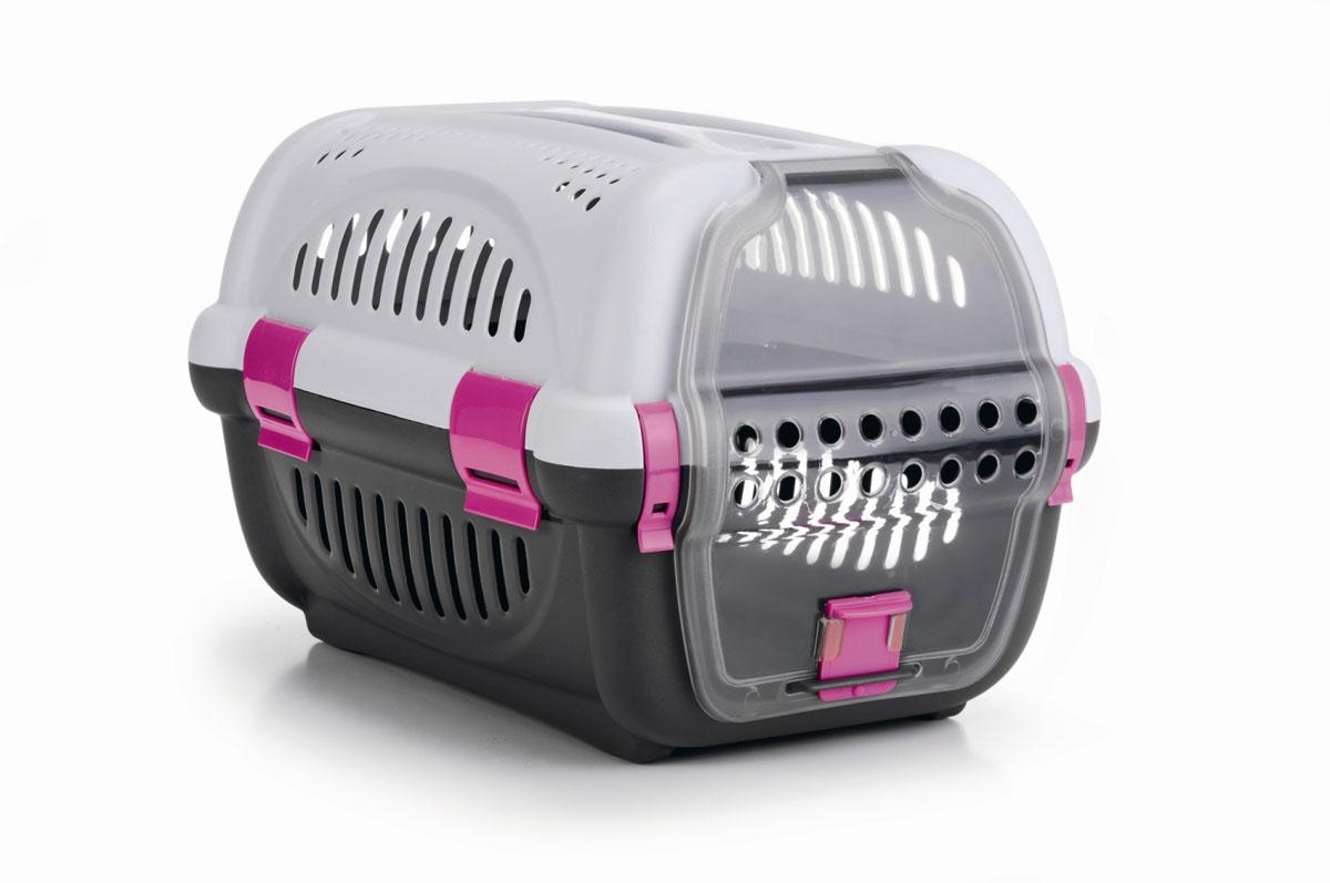 Переноска для животных I.P.T.S., цвет: серый, розовый, 51 см х 36 см х 33 см36890Легкая и удобная переноска I.P.T.S. идеально подходит для щенков, кошек и других небольших животных (до 8 кг). Дверь открывается вверх, из прозрачного пластика. Воздух циркулирует благодаря пластмассовым решеткам по всему периметру переноски. Прозрачная дверца обеспечивает животному возможность наблюдать за происходящим вокруг.Яркие фрагменты в дизайне переноски добавляют индивидуальности. Размер переноски: 51 см х 36 см х 33 см.