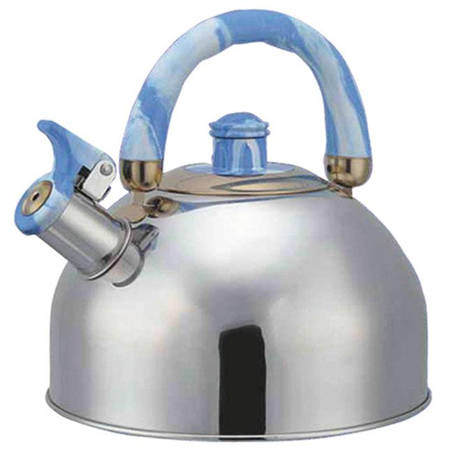 Чайник Bohmann со свистком, цвет: голубой, 4,5 л. BHL-641641BHLЧайник Bohmann изготовлен из высококачественной коррозионностойкой стали с зеркальной полировкой. Материал, зарекомендовавший себя как идеально подходящий для изготовления кухонной посуды и аксессуаров. Прочность, надежность, стойкость к кислотам и привлекательный внешний вид основные свойства этого материала . Серия Lite в линейке посуды Bohmann это посуда из стали, легкая и экономичная.Подвижная ручка изготовлена из цветного бакелита. Носик чайника оснащен откидным свистком, звуковой сигнал которого подскажет, когда закипит вода. Чайник Bohmann - качественное исполнение и стильное решение для вашей кухни. Подходит для использования на газовых, стеклокерамических и электрических плитах. Также изделие можно мыть в посудомоечной машине. Диаметр (по верхнему краю): 8,5 см. Высота чайника (без учета ручки): 12,5 см. Высота чайника (с учетом ручки): 22 см. Диаметр основания: 22 см.