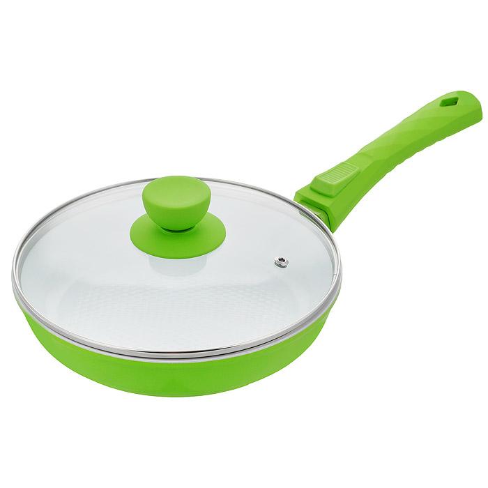 Сковорода Bohmann с крышкой, со съемной ручкой, с керамическим покрытием, цвет: зеленый. Диаметр 24. 7024BH/2WC7024BH/2WC зеленыйСковорода Bohmann изготовлена из литого алюминия с антипригарным керамическим покрытием.Антипригарное покрытие содержит 5 слоев:- бесцветное огнеупорное покрытие,- жаропрочный базовый слой,- алюминий,- керамический базовый слой,- керамический защитный слой.Внешнее покрытие - жаростойкий лак, который сохраняет цвет долгое время и обладает жироотталкивающими свойствами. Благодаря керамическому покрытию пища не пригорает и не прилипает к поверхности сковороды, что позволяет готовить с минимальным количеством масла. Кроме того, такое покрытие абсолютно безопасно для здоровья человека, так как не содержит вредной примеси PTFE. Рифленая внутренняя поверхность сковороды в виде сот обеспечивает быстрое и легкое приготовление.Достоинства керамического покрытия:- устойчивость к высоким температурам и резким перепадам температур,- устойчивость к царапающим кухонным принадлежностям и абразивным моющим средствам,- устойчивость к коррозии,- водоотталкивающий эффект,- покрытие способствует испарению воды во время готовки,- длительный срок службы,- безопасность для окружающей среды и человека.Сковорода быстро разогревается, распределяя тепло по всей поверхности, что позволяет готовить в энергосберегающем режиме, значительно сокращая время, проведенное у плиты.Сковорода оснащена съемной ручкой, выполненной из пластика с прорезиненным покрытием. Такая ручка не нагревается в процессе готовки и обеспечивает надежный хват. Крышка изготовлена из жаропрочного стекла, оснащена ручкой, отверстием для выпуска пара и металлическим ободом. Благодаря такой крышке можно следить за приготовлением пищи без потери тепла.Можно готовить на газовых, электрических, стеклокерамических, галогенных, индукционных плитах. Подходит для чистки в посудомоечной машине.