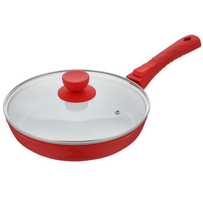 Сковорода Bohmann с крышкой, со съемной ручкой, с керамическим покрытием, цвет: красный. Диаметр 26 см. 7026BH/2WC7026BH/2WC красныйСковорода Bohmann изготовлена из литого алюминия с антипригарным керамическим покрытием. Антипригарное покрытие содержит 5 слоев: - бесцветное огнеупорное покрытие, - жаропрочный базовый слой, - алюминий, - керамический базовый слой, - керамический защитный слой. Внешнее покрытие - жаростойкий лак оранжевого цвета, который сохраняет цвет долгое время и обладает жироотталкивающими свойствами. Благодаря керамическому покрытию пища не пригорает и не прилипает к поверхности сковороды, что позволяет готовить с минимальным количеством масла. Кроме того, такое покрытие абсолютно безопасно для здоровья человека, так как не содержит вредной примеси PTFE. Рифленая внутренняя поверхность сковороды в виде сот обеспечивает быстрое и легкое приготовление. Достоинства керамического покрытия: - устойчивость к высоким температурам и резким перепадам температур, - устойчивость к царапающим кухонным принадлежностям и абразивным моющим средствам, - устойчивость к коррозии, - водоотталкивающий эффект, - покрытие способствует испарению воды во время готовки, - длительный срок службы, - безопасность для окружающей среды и человека. Сковорода быстро разогревается, распределяя тепло по всей поверхности, что позволяет готовить в энергосберегающем режиме, значительно сокращая время, проведенное у плиты. Сковорода оснащена съемной ручкой, выполненной из пластика с прорезиненным покрытием. Такая ручка не нагревается в процессе готовки и обеспечивает надежный хват. Крышка изготовлена из жаропрочного стекла, оснащена ручкой, отверстием для выпуска пара и металлическим ободом. Благодаря такой крышке можно следить за приготовлением пищи без потери тепла. Можно готовить на газовых, электрических, стеклокерамических, галогенных и индукционных плитах. Подходит для чистки в посудомоечной машине.Высота стенки: 5 см.Толщина стенки: 3,5 мм.Толщина дна: 5 мм.Длина ручки: 17,5 
