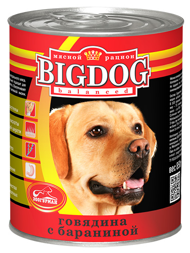 Консервы для собак Зоогурман Big Dog, с говядиной и бараниной, 850 г дог ланч консервы ламистер крем суфле с говядиной для собак dog lunch 125 г