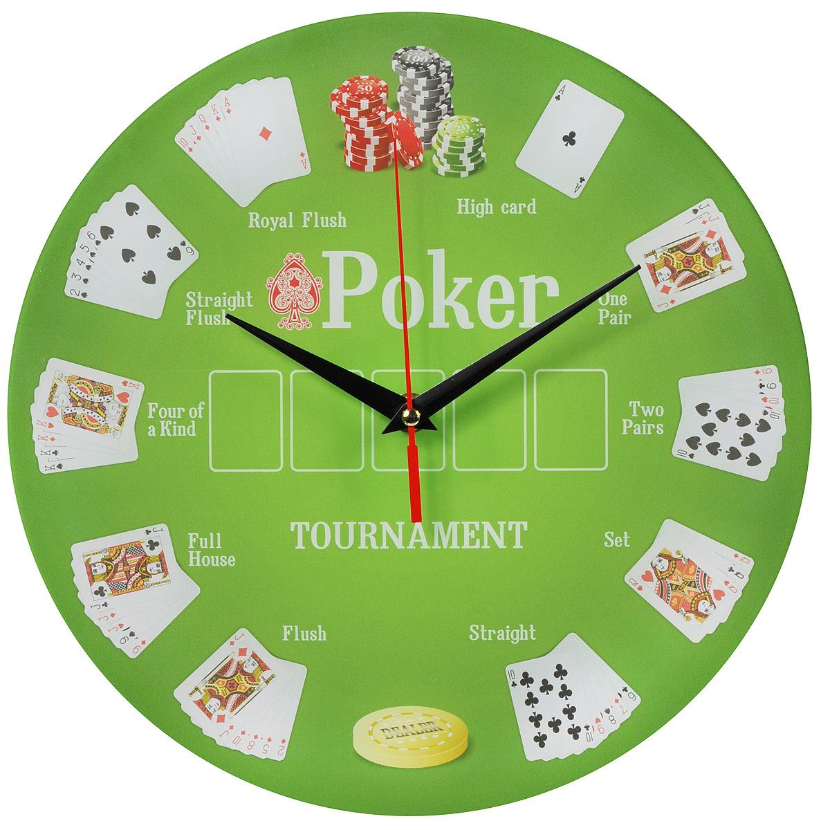 Часы настенные Покер, стеклянные. 9601496014Оригинальные настенные часы Покер круглой формы выполнены из стекла и оформлены изображением покерного стола. Часы имеют три стрелки - часовую, минутную и секундную. Циферблат часов не защищен. Необычное дизайнерское решение и качество исполнения придутся по вкусу каждому.Оформите свой дом таким интерьерным аксессуаром или преподнесите его в качестве презента друзьям, и они оценят ваш оригинальный вкус и неординарность подарка.