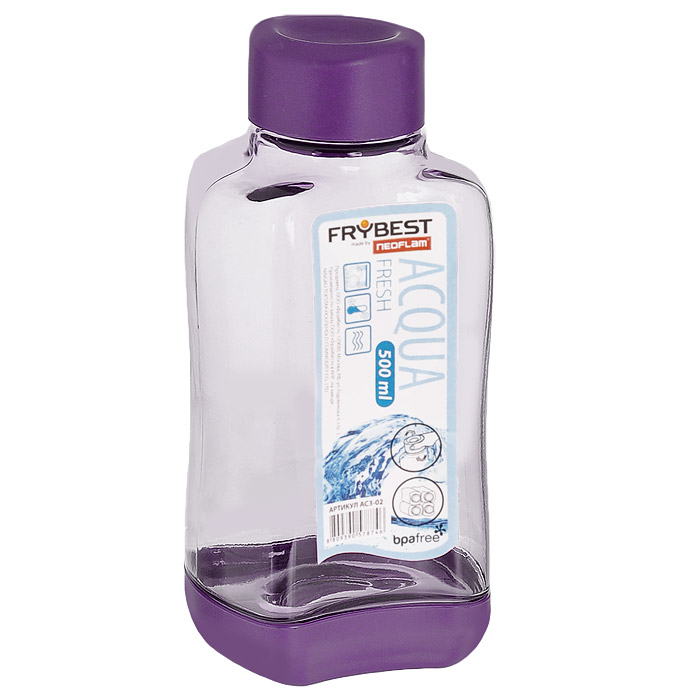 Бутылка Frybest Fresh, цвет: фиолетовый, 500 мл. AC3-01AC3-01Бутылка Frybest Fresh изготовлена из прочного цветного пластика. Прозрачные стенки позволяют видеть содержимое. Материал износостоек и устойчив к царапинам, благодаря этому изделие сохранит свой изначальный вид даже после продолжительного использования. Бутылка оснащена специальной крышкой, которая легко открывается и закрывается, но, благодаря резиновой прослойке, предотвращает случайное проливание. Дно бутылки пластиковое. Для удобства хранения бутылки имеют специальные выемки, которые позволяют ставить их одна на другую.Такая бутылка очень удобна в использовании, ее можно взять с собой куда угодно: на работу, пикник, в парк, поездку или прогулку. Легкость очистки: благодаря своей форме стакан легко мыть; пригоден для посудомоечной машины. Можно использовать в морозильной камере, чтобы остудить напитки.