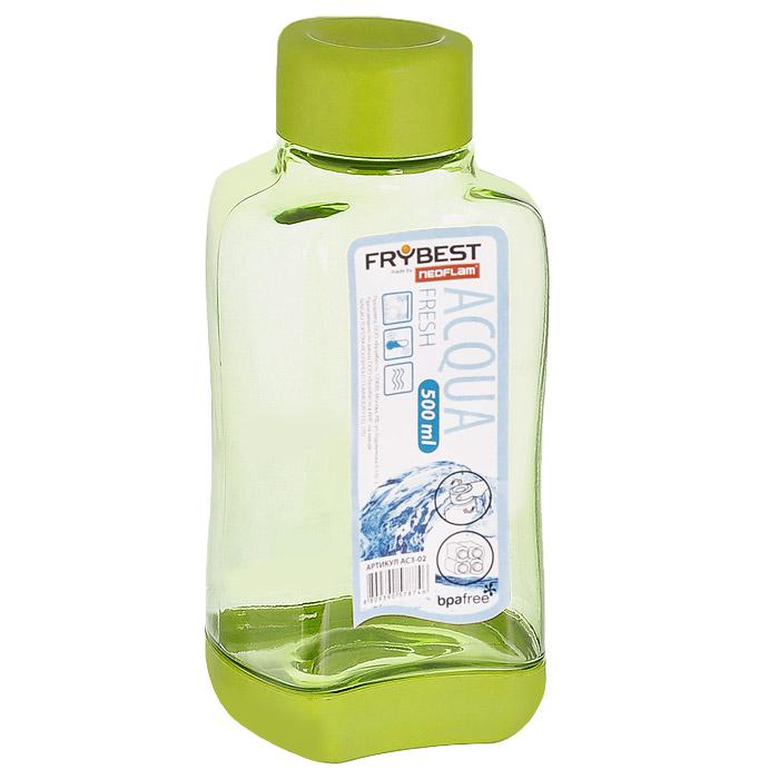 Бутылка Frybest Fresh, цвет: зеленый, 500 мл. AC3-03AC3-03Бутылка Frybest Fresh изготовлена из прочного цветного пластика. Прозрачные стенки позволяют видеть содержимое. Материал износостоек и устойчив к царапинам, благодаря этому изделие сохранит свой изначальный вид даже после продолжительного использования. Бутылка оснащена специальной крышкой, которая легко открывается и закрывается, но, благодаря резиновой прослойке, предотвращает случайное проливание. Дно бутылки пластиковое. Для удобства хранения бутылки имеют специальные выемки, которые позволяют ставить их одна на другую.Такая бутылка очень удобна в использовании, ее можно взять с собой куда угодно: на работу, пикник, в парк, поездку или прогулку. Легкость очистки: благодаря своей форме стакан легко мыть; пригоден для посудомоечной машины. Можно использовать в морозильной камере, чтобы остудить напитки.