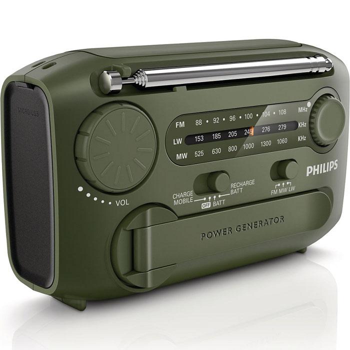 Philips AE1125/12 радиоприемникAE1125/12Портативный радиоприемник Philips AE1125/12 создан для использования вне дома. Он оснащен кинетическим зарядным устройством, поэтому даже если нужных элементов питания не окажется поблизости, вы сможете пользоваться приемником без каких-либо ограничений. Радио оснащено встроенной сиреной для привлечения внимания и зарядным устройством USB для зарядки и подключения. Благодаря встроенному фонарику устройство позволяет заниматься своими делами еще долго после заката солнца при достаточном освещении.