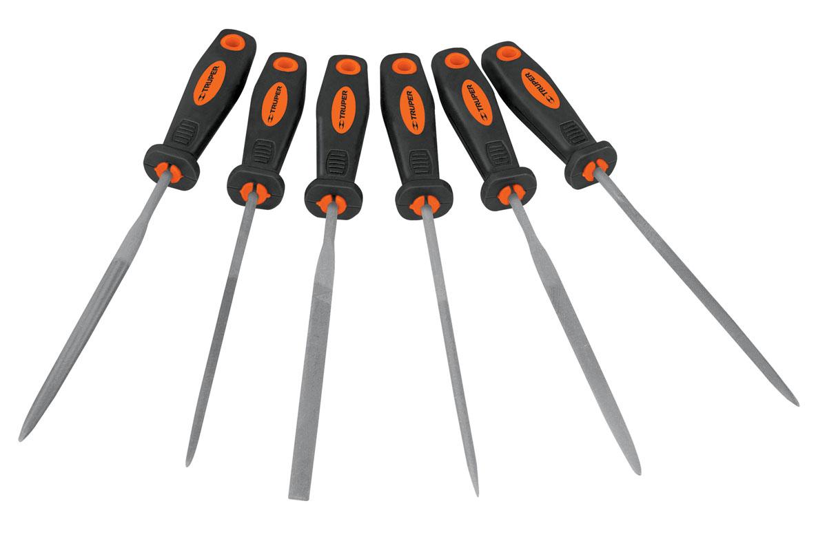 Набор прецизионных напильников Truper, с ручкой, 152 мм, 6 шт напильник 203 мм truper lpb 8b 15221