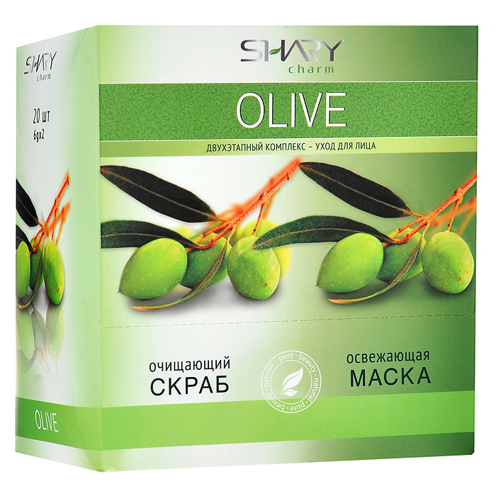Shary Двухэтапный комплекс-уход для лица Olive: очищающий скраб, освежающая маска, 20x12 г8809270623566Двухэтапный комплекс-уход для лица Shary Olive включает в себя очищающий скраб и освежающую маску. Очищающий кремовый скраб для лица содержит натуральный эксфолиант - микрогранулы из абрикосовых косточек, позволяющий мягко и нежно очистить даже самую чувствительную кожу, не повреждая ее. Легкая текстура скраба деликатно удаляет ороговевшие клетки и загрязнения, ускоряет естественный процесс регенерации, омолаживает и выравнивает кожу. В результате применения кожа выглядит обновленной, цвет лица становится свежим и сияющим. Применение очищающего скраба подготавливает кожу к нанесению освежающей маски и усиливает ее действие.Освежающая маска для лица на основе целебных масел оливы комплексно заботится о коже, делая ее нежной и бархатистой, освежает цвет лица, глубоко питает и защищает от стрессов. Масло оливы насыщает кожу витаминами А, Е, B, D, K, способствует сохранению эластичности, улучшает регенерацию клеток и препятствует появлению морщин. Экстракт розмарина обладает сильным тонизирующим свойством, способствующим разглаживанию кожи и приданию ей упругости. Экстракт лайма содержит витамин С и флавоноиды, увеличивающие запас жизненных сил каждой клетки, делая кожу свежей и подтянутой. Экстракт плюща увлажняет, улучшает кровообращение, уменьшает отечность, оказывает противовоспалительное действие. Способ применения: 1 этап: нанесите скраб на чистую влажную кожу, избегая области вокруг глаз. Легко помассируйте в течение 1-2 минут. Тщательно смойте водой.2 этап: после использования скраба нанесите маску на сухую кожу лица, избегая области вокруг глаз. Через 10-15 минут смойте теплой водой. Применять 1-2 раза в неделю.