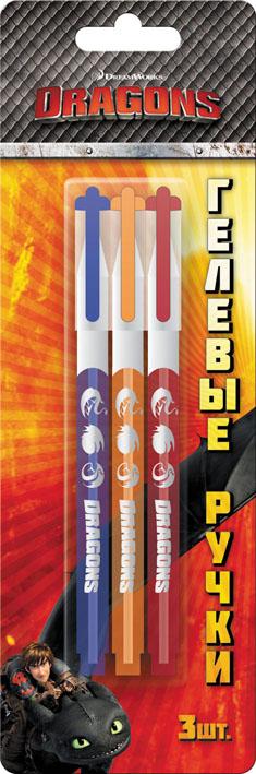 Набор гелевых ручек DRAGONS, 3 шт, блистер luxor набор гелевых ручек tru gel цвет черный 3 шт