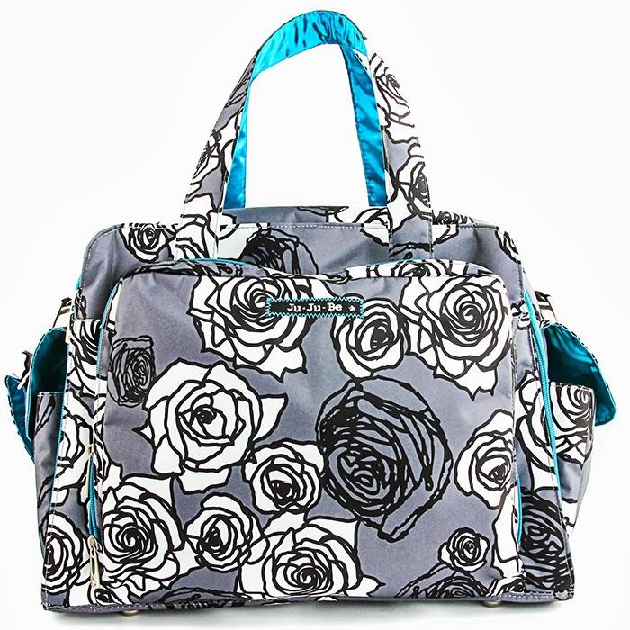 Ju-Ju-Be Дорожная сумка для мамы Charcoal Roses цвет серый белый бирюзовый