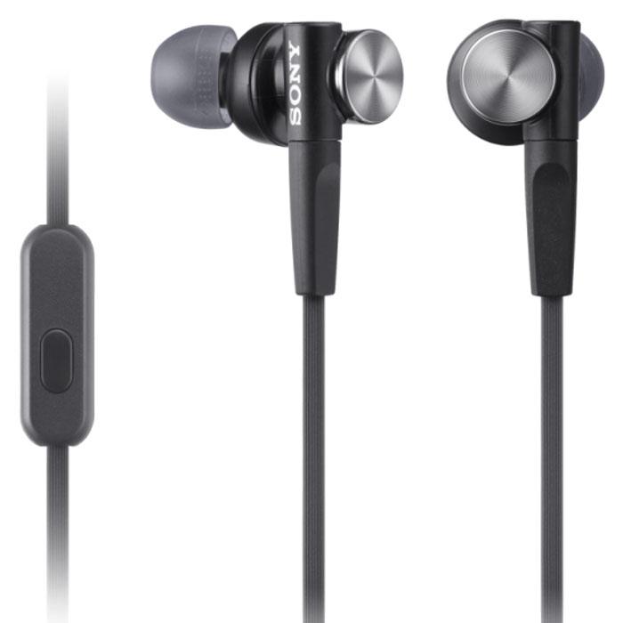 Sony MDR-XB50APB, Black гарнитураMDR-XB50APBГарнитура Sony MDR-XB50AP оснащена неодимовыми мембранами для воспроизведения динамичного звука с мощными басами. Удобные силиконовые ушные вкладыши гарантируют комфортное использование в течение долгого времени. Встроенный микрофон позволяет принимать звонки и управлять воспроизведением музыки.