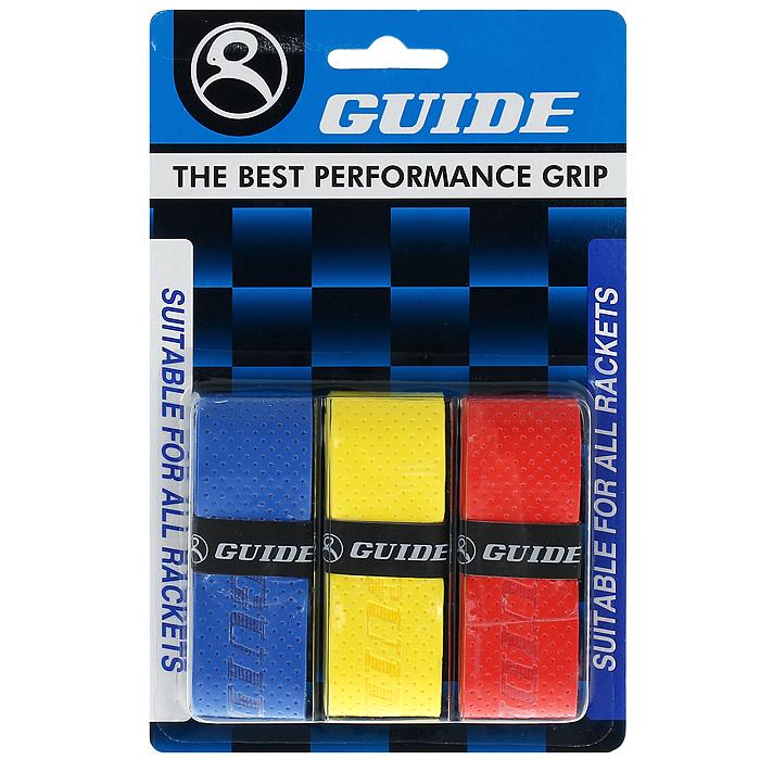 Обмотка для ракетки Guide Replacement Grip, цвет: синий, желтый, красный, 3 шт360 #HC-2541N-AA b-ye-redОбмотка Guide имеет среднюю толщину, отлично впитывает влагу, а также наделена противоскользящим свойством. Она не уступает по качеству продукции компании Yonex, опережая по показателям другие мировые бренды.