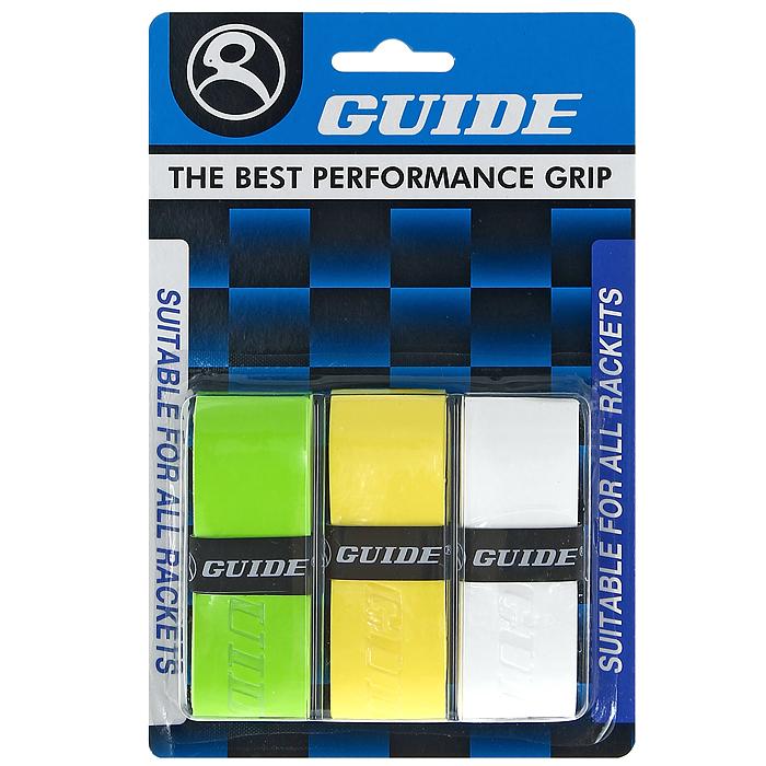 Обмотка для ракетки Guide Replacement Grip, цвет: зеленый, желтый, белый, 3 шт361 #HC-6AW gr-ye-whОбмотка Guide имеет среднюю толщину, отлично впитывает влагу, а также наделена противоскользящим свойством. Она не уступает по качеству продукции компании Yonex, опережая по показателям другие мировые бренды.