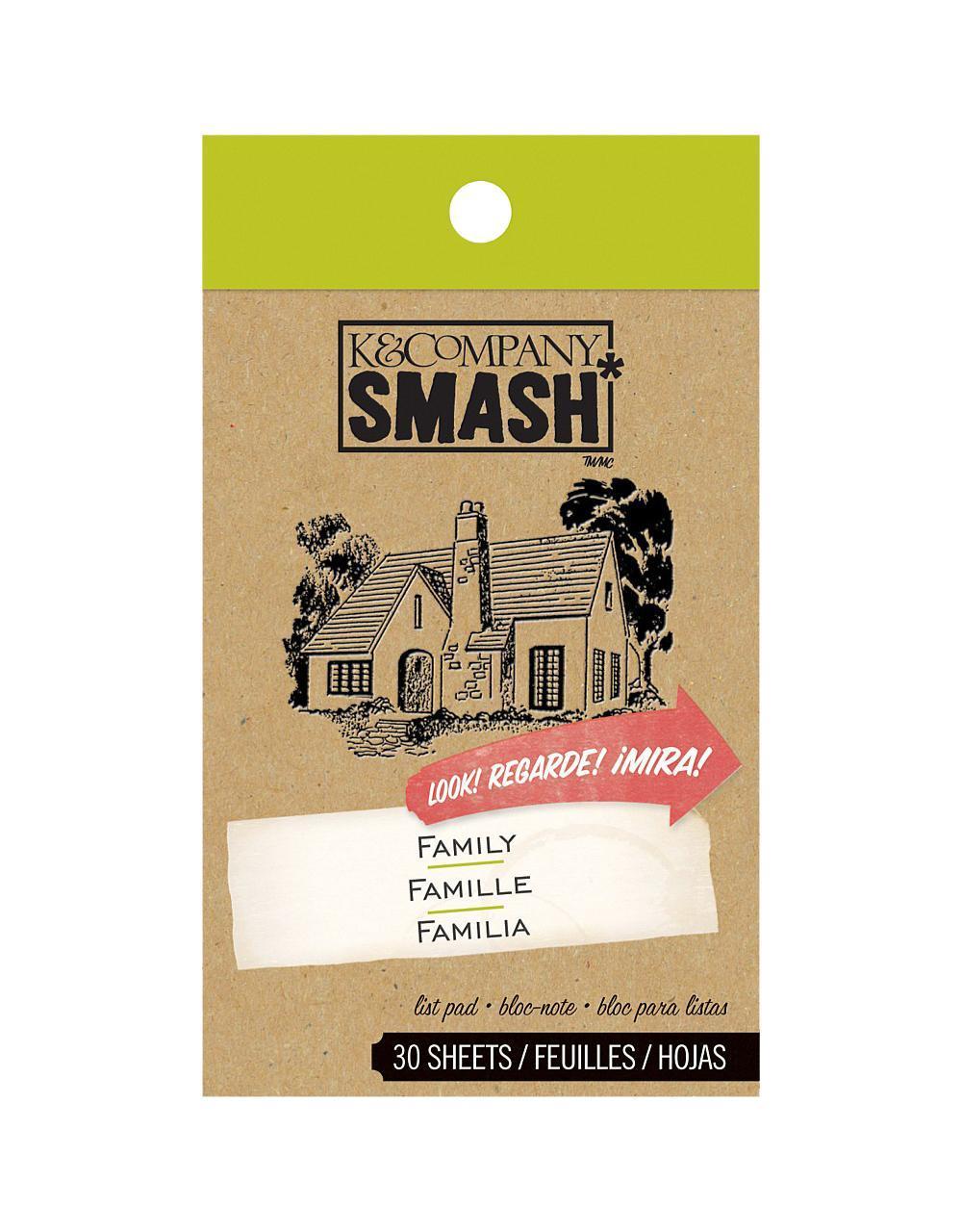 Блокнот K&Company Smash СемьяKCO-30-620308Блокнот Smash для записей. Включает в себя 30 дизайнерских листов. Идеально подходит для оформления Папки Smash. Размер блокнота ~7*12 см. Материал: Бумага Размер: 70*120*6
