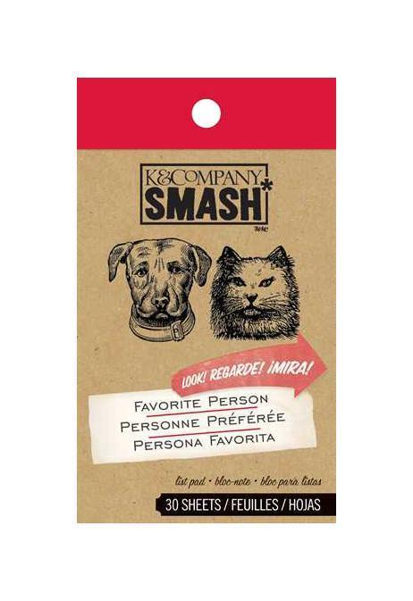 Блокнот K&Company Smash Кот и пес, двое из штатовKCO-30-617537Блокнот Smash для записей. Включает в себя 30 дизайнерских листов. Идеально подходит для оформления Папки Smash. Размер блокнота ~7*12 см Материал: Бумага Размер: 70*120*6