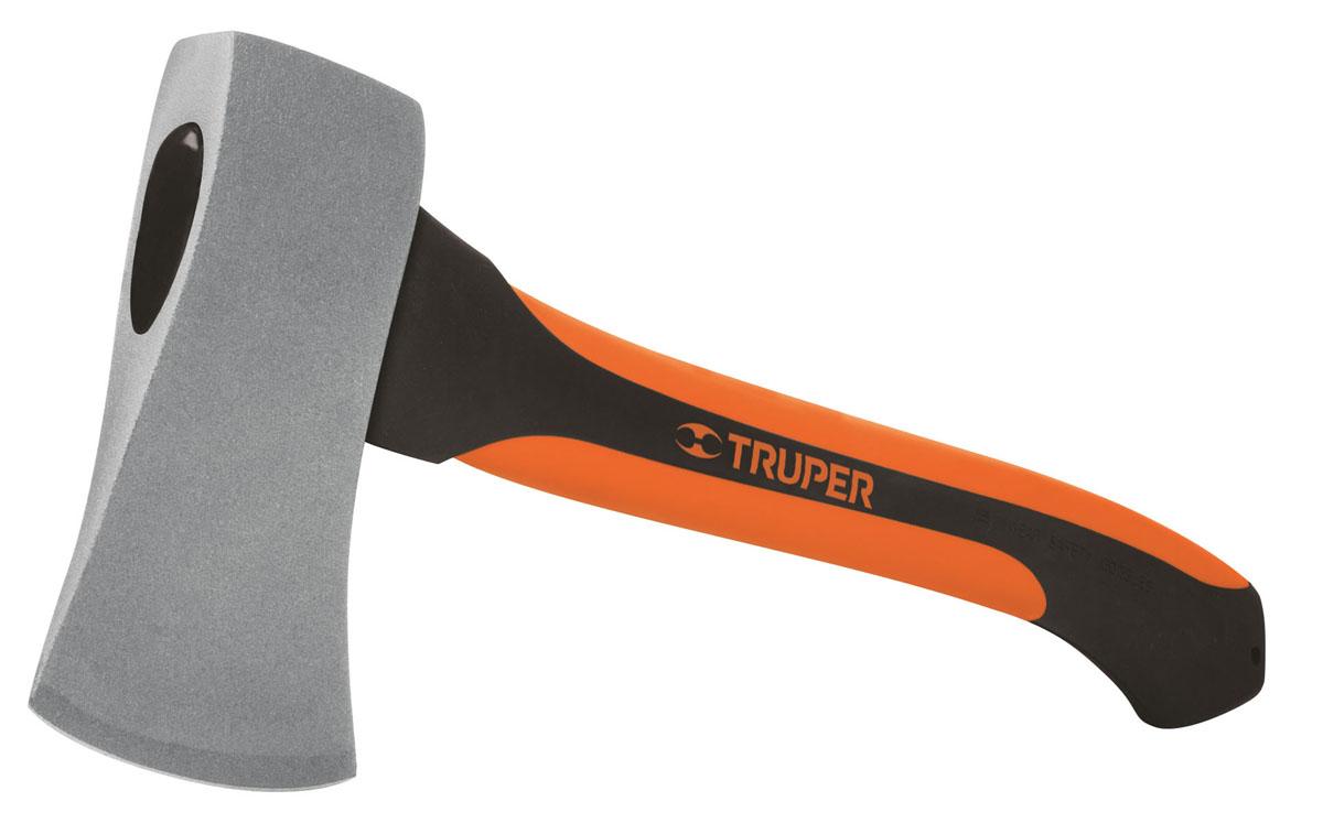 Топор Truper, с фибергласовой ручкой,  гHC-1-1/4FТопор Truper с фибергласовой ручкой очень удобен в работе. Фибергласовая ручка для амортизации ударов оформлена накладкой из резины, что обеспечивает надежный хват и баланс при работе. Лезвие топора изготовлено из кованной стали двойной термообработки.