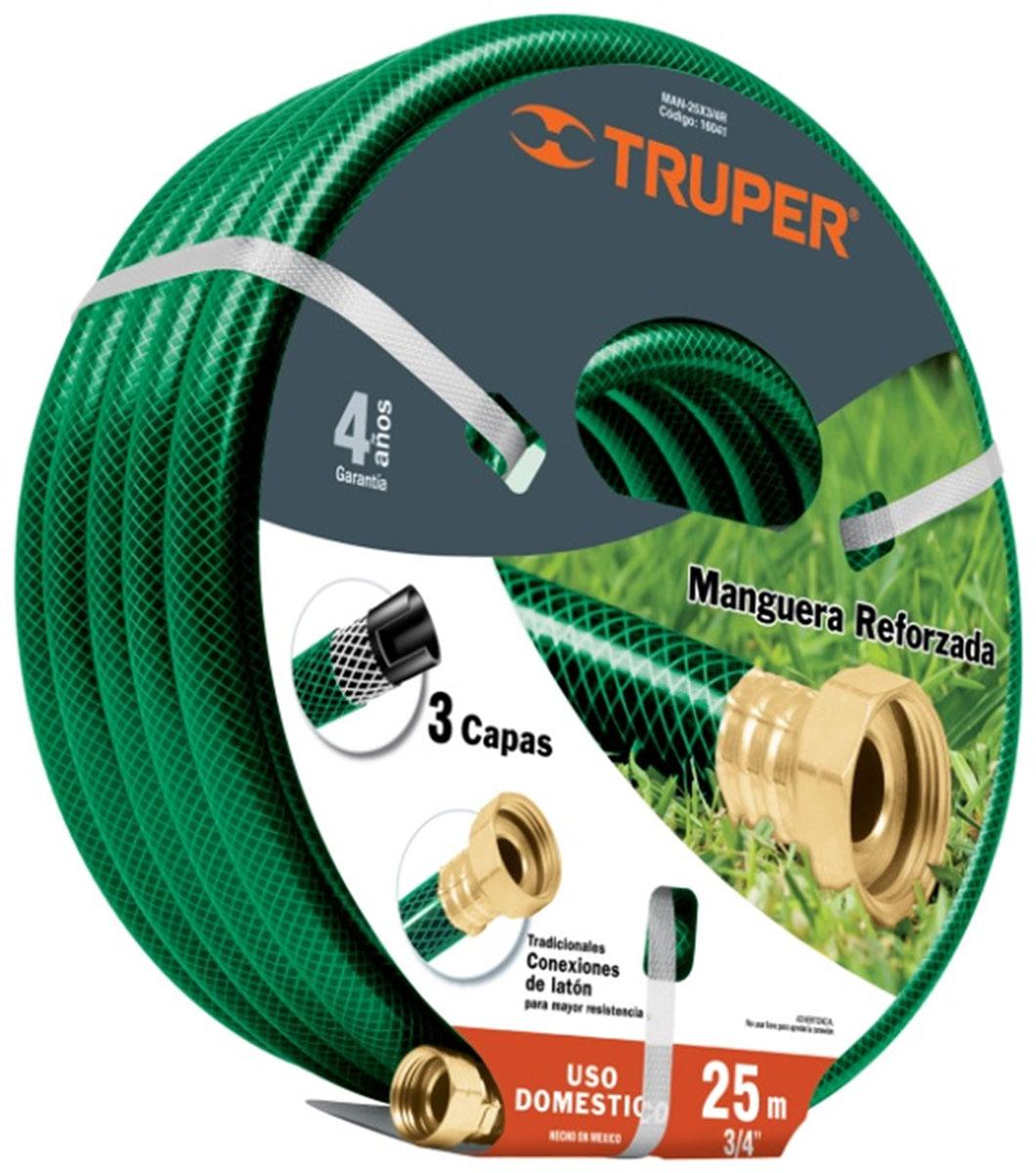 Шланг садовый Truper, трехслойный, 3/4, 25 мMAN-25X3/4RТрехслойный садовый шланг Truper применяется для поливочных работ на приусадебном участке. Изделие, изготовленное из высококачественного полипропилена, устойчиво к воздействиям окружающей среды и образованию водорослей на внутреннем слое. Отсутствие в составе токсичных веществ обеспечивает безопасность для окружающей среды и человека. Имеет длительный срок эксплуатации, не обесцвечивается и не теряет форму со временем. В комплекте латунный коннектор.
