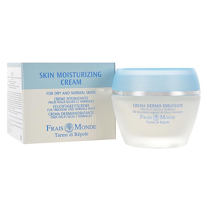Frais Monde Крем для лица, увлажняющий, для нормальной и сухой кожи, 50 млFMCR001Идеальное увлажняющее средство для лица Frais Monde. Использование крема помогает предотвратить шелушение кожи, успокоить нежную, сухую кожу. Активные ингредиенты регулируют естественный водный баланс. Экстракты лесной мальвы, семян льна и миндаля оказывают смягчающее и увлажняющее действие и быстро впитываются кожей. Натуральный гидрокомплекс, получаемый из цветочного нектара и меда, регулирует водный баланс кожи и способствует сохранению влаги в течение длительного времени. Сернистая термальная вода Repole нормализует процессы обновления на клеточном уровне, восстанавливает эластичность, усиливает межклеточные связи эпидермиса, слабые при сухом типе кожи. Подходит в качестве дневного крема или основы под макияж.Способ применения: нанести небольшое количество крема на очищенное лицо, мягко помассировать.Товар сертифицирован.