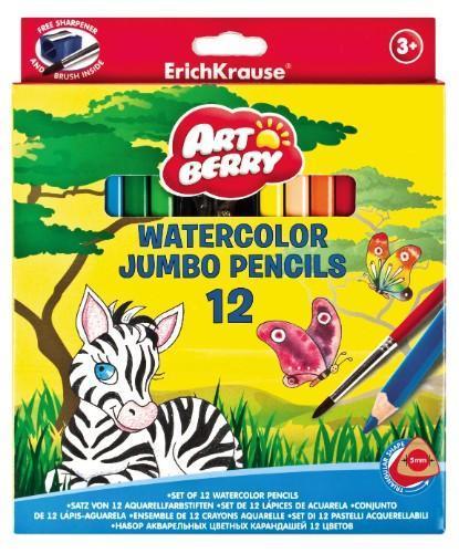Карандаши Artberry 12цв акварельные треугольные Jumbo с точилкой и кисточкой1824-77Цветные карандаши Erich Krause Art Berry - идеальный инструмент для самовыражения и развития маленького художника! В набор входят 12 коротких цветных карандашей и точилка. Корпус изготовлен из древесины, гладкость которой обеспечена многослойной покраской. Эргономичная треугольная форма позволяет правильно держать карандаш. Ребенок легко рисует без усталости и напряжения. Грифели не крошатся при рисовании, при падении не трескаются. Карандаши обладают яркими насыщенными цветами. Они уже заточены, поэтому все, что нужно для рисования - это взять чистый лист бумаги, и можно начинать! Карандаши упакованы в фирменную коробку с европодвесом.
