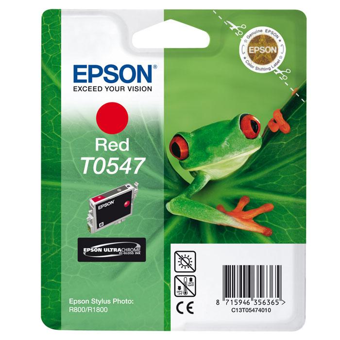 Epson T0547 (C13T05474010), Red картридж для Stylus Photo R800/R1800C13T05474010Картридж Epson T054 с цветными чернилами для струйной печати. Качество устройств Epson и расходных материалов гарантируют четкую печать и устойчивость к выцветанию. Картридж прост в установке и использовании.