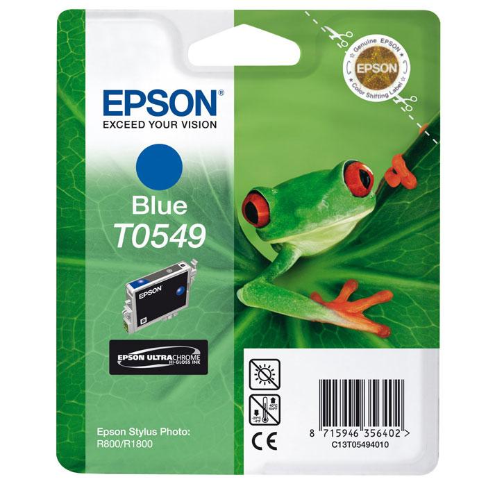 Epson T0549 (C13T05494010), Blue картридж для Stylus Photo R800/R1800C13T05494010Картридж Epson T054 с цветными чернилами для струйной печати. Качество устройств Epson и расходных материалов гарантируют четкую печать и устойчивость к выцветанию. Картридж прост в установке и использовании.