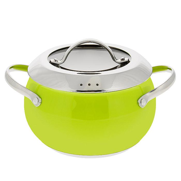 Кастрюля Esprado Ritade c крышкой, цвет: зеленый, 1,9 л сковорода esprado ritade