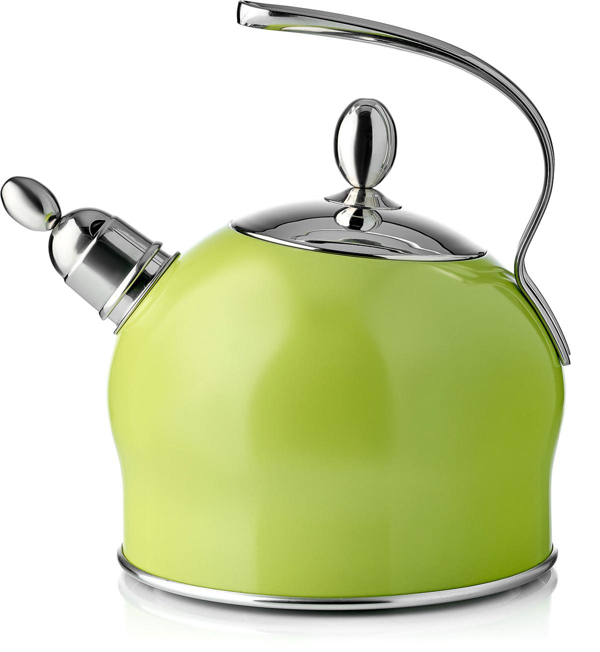 Чайник Esprado Ritade, со свистком, цвет: зеленый, 2,5 лRI1L25GE113Чайник Esprado Ritade изготовлен из специальной высококачественной нержавеющей пищевой стали Steelagen, разработанной датскими специалистами марки Esprado. Благодаря отличным антикоррозионным свойствам Steelagen устойчива к воздействию соленой и кислой сред. Сталь прочна и долговечна, а также безопасна для здоровья человека и окружающей среды. Внешние стенки чайника покрыты цветной жаростойкой эмалью, выдерживающей нагрев до 220°С. Трехслойное капсулированное дно (нержавеющая сталь, алюминий, магнитная сталь) обеспечивает равномерный нагрев посуды и постепенное остывание (эффект томления). Чайник оснащен удобной стальной ручкой. Носик чайника имеет насадку-свисток, что позволит вам контролировать процесс подогрева или кипячения воды.Подходит для использования на всех видах плит, включая индукционные.В Испании распространен горшочек-яблоко, в котором готовят традиционный испанский томатный суп, - считается, что в посуде именно такой формы тушеные блюда и супы густой консистенции получаются просто идеальными.Торговая марка Esprado представляет аналог этой известной посуды - коллекцию Ritade, произведенную с использованием современных высококачественных материалов и покрытий. Коллекция отличается современным дизайном, и благодаря округлой форме и насыщенному цвету выглядит очень привлекательно.