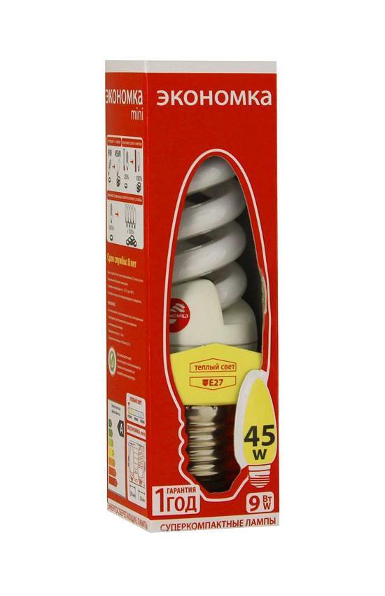 Лампа энергосберегающая Экономка, свет: теплый. Модель Т2 SPC 9W E2727LKsmT2SPC9wE2727ecoСфера применения энергосберегающей лампы Экономка та же, что и у ламп накаливания, но энергосберегающая лампа имеет ряд преимуществ: температура колбы ниже, чем у лампы накаливания, что позволяет использовать энергосберегающую лампу в тканевых абажурах без риска выцветания и возникновения пожара; различный спектральный состав по-разному влияет на настроение человека.Характеристики:Модель:Т2 SPC 9W E2727. Материал:стекло, металл, пластик. Диаметр колбы (по верхнему краю): 2,5 см. Общая длина:10,5 см. Тип цоколя:E27. Мощность:9 Вт. Соответствующая мощность лампы накаливания:45 Вт. Свет:теплый. Цветовая температура:2700К. Световой поток:450 Lm. Средний срок службы:8000 часов. Напряжение:220-240 В. Размер упаковки: 11,5 см х 3,5 см х 5,5 см. Изготовитель: Китай.