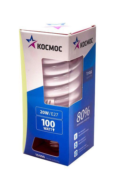 """Энергосберегающая лампа """"Космос"""" теплого света способствует расслаблению, ее лучше использовать в спальнях, местах для отдыха. Сфера применения энергосберегающей лампы """"Космос"""" та же, что и у лампы накаливания, но данная лампа имеет ряд преимуществ: температура колбы ниже, чем у ламп накаливания, что позволяет использовать энергосберегающие лампы в тканевых абажурах без риска их выцветания и возникновения пожара; полностью заменяет галогенные и обычные лампы накаливания. Колба лампы имеет защитное покрытие, препятствующее ультрафиолетовому излучению. Не содержат паров ртути: технология амальгамной дозировки обеспечивает более стабильный поток не только в течение всего срока службы лампы, но также при изменении температуры окружающей среды и рабочего положения лампы. Применение РТС-термистра с положительным коэффициентом температуры, осуществляющего """"плавный старт"""" лампы, позволяет производить до 500000 включений-выключений лампы, что увеличивает срок службы лампы. Применение ЕМС-системы подавления электромагнитных помех позволяет использовать лампу в электросетях с чувствительными электронными приборами. Лампа соответствует требованиям ROHS (директива, ограничивающая содержание вредных веществ). Данная директива ограничивает использование в производстве шести опасных веществ: свинец, ртуть, кадмий, шестивалентный хром, полибромированные бифенолы, полибромированный дифенол-эфир. Энергосберегающие лампы очень популярны благодаря своей высокой экономичности, большому сроку службы и низкому потреблению электроэнергии. Энергосберегающая лампа """"Космом"""" обладает большой мощностью, которая позволяют освещать большие площади или помещения с большой высоты потолка. Характеристики:  Модель:  Т2 SPC 20W E2727. Материал:  стекло, металл, пластик. Диаметр колбы (по верхнему краю): 4,5 см. Общая длина:  10 см. Тип цоколя:  E27. Мощность:  20 Вт. Соответствующая мощность лампы накаливания:  100 Вт. Свет:  теплый. Цветовая температура:  2700К. Световой поток:  1050 Lm. Средний срок """