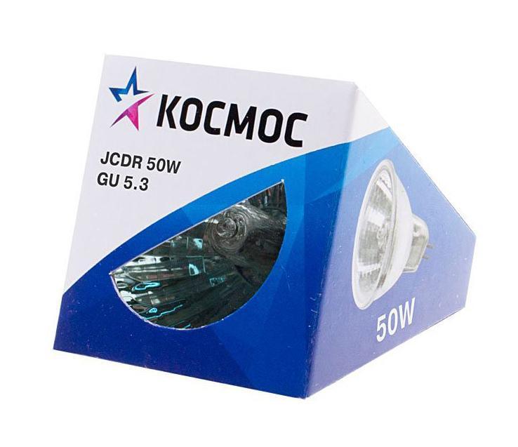 Лампа галогенная Космос. Модель JCDR 50W 230V GU5.3LKsmJCDR220V50WГалогенная лампа Космос выполнена с отражателем и защитным стеклом, которое обеспечивает безопасность эксплуатации лампы, предохраняя внутреннюю капсулу и отражатель от попадания пыли. Колба лампы изготовлена из кварцевого стекла с добавками, экранирующими УФ-излучение. Особенности галогенной лампы Космос стабильный и ровный световой поток на протяжении всего срока службы яркий белый свет, его четкая направленность компактный размер высокий коэффициент цветопередачи срок службы в 2 раза дольше, чем у обычной лампы накаливания стекло защищает от ультрафиолетового излучения. Характеристики:Модель:JCDR 50W 230V GU5.3. Материал:стекло, металл. Диаметр: 5 см. Общая длина:5 см. Тип цоколя:GU5.3. Мощность:50 Вт. Световой поток:400 Lm. Средний срок службы:2000 часов. Напряжение:230 В. Размер упаковки: 5 см х 5 см х 5 см. Производитель: Россия. Изготовитель: Китай.Российская марка Космос была создана в 2000 году, чтобы обеспечить вас качественными и доступными электротоварами. Продукция под маркой Космос производится на лучших заводах шести стран мира: России, Украины, Белоруссии, Китая, Кореи и Японии. Перед тем как попасть на магазинные полки, лампы проходят многоуровневый контроль качества, осуществляемый независимой международной лабораторией. Лампы Космос соответствуют международным стандартам качества ISO 9001 и, наряду с российским сертификатом соответствия РосТест, имеют европейский сертификат RoHS, СЕ.Срок службы ламп Космос 10 000 часов, что в 10 раз больше обычной лампы накаливания!