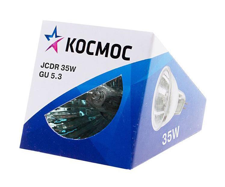 Лампа галогенная Космос. Модель JCDR 35W 230V GU5.3LKsmJCDR230V35WГалогенная лампа Космос выполнена с отражателем и защитным стеклом, которое обеспечивает безопасность эксплуатации лампы, предохраняя внутреннюю капсулу и отражатель от попадания пыли. Колба лампы изготовлена из кварцевого стекла с добавками, экранирующими УФ-излучение. Особенности галогенной лампы Космос стабильный и ровный световой поток на протяжении всего срока службы яркий белый свет, его четкая направленность компактный размер высокий коэффициент цветопередачи срок службы в 2 раза дольше, чем у обычной лампы накаливания стекло защищает от ультрафиолетового излучения. Характеристики:Модель:JCDR 35W 230V GU5.3. Материал:стекло, металл. Диаметр: 5 см. Общая длина:5 см. Тип цоколя:GU5.3. Мощность:35 Вт. Световой поток:245 Lm. Средний срок службы:2000 часов. Напряжение:230 В. Размер упаковки: 5 см х 5 см х 5 см. Производитель: Россия. Изготовитель: Китай.Российская марка Космос была создана в 2000 году, чтобы обеспечить вас качественными и доступными электротоварами. Продукция под маркой Космос производится на лучших заводах шести стран мира: России, Украины, Белоруссии, Китая, Кореи и Японии. Перед тем как попасть на магазинные полки, лампы проходят многоуровневый контроль качества, осуществляемый независимой международной лабораторией. Лампы Космос соответствуют международным стандартам качества ISO 9001 и, наряду с российским сертификатом соответствия РосТест, имеют европейский сертификат RoHS, СЕ.Срок службы ламп Космос 10 000 часов, что в 10 раз больше обычной лампы накаливания!