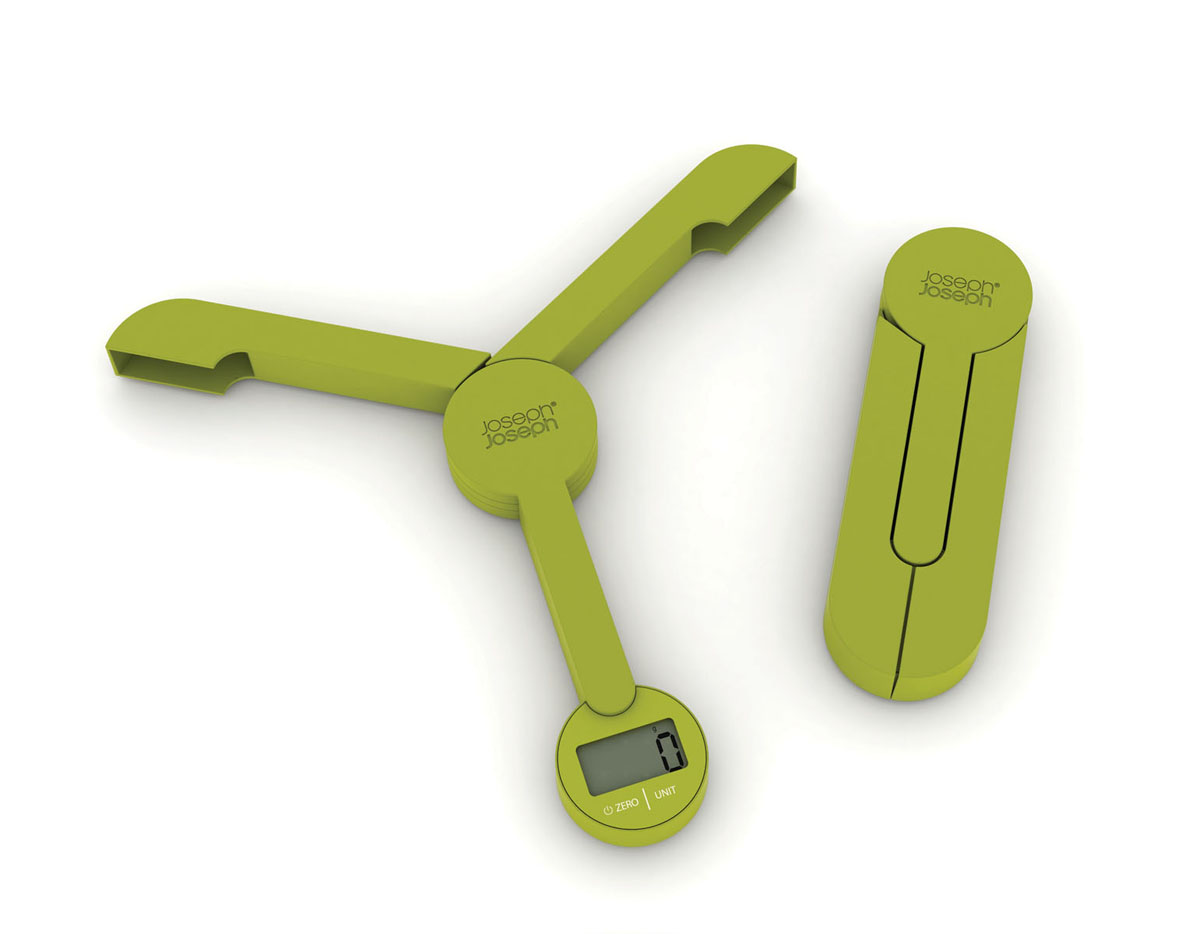 Весы кухонные Joseph Joseph TriScale, складные, цвет: зеленый, до 5 кг40072Кухонные весы Joseph Joseph TriScale позволят вам взвесить с точностью до грамма продукты весом до 5 кг. Корпус весов выполнен из прочного пластика, снабжен 3 сенсорами. Весы оснащены прямоугольным электронным дисплеем. Основание весов имеет три устойчивые ножки с нескользящим покрытием. На корпусе расположены две сенсорные кнопки управления: кнопка включения/отключения и кнопка выбора единицы измерения Unit. Измерять можно как сыпучие продукты, так и жидкости. В весах предусмотрено 5 единиц измерения - граммы (g), миллилитры (ml), фунты (lb), унции (oz), жидкие унции (fl.oz). Если вы не используете весы более 5 минут, они отключатся автоматически. Имеется функция довеса.Весы складные (в сложенном виде занимают минимум места), это поможет сэкономить пространство на кухне. С помощью таких цифровых весов можно точно контролировать пропорции ингредиентов. Кухонные весы Joseph Joseph TriScale придутся по душе каждой хозяйке и станут незаменимым аксессуаром на кухне.