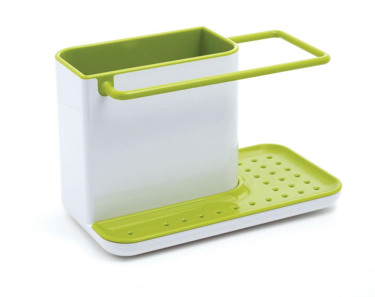 Органайзер для раковины Joseph Joseph Caddy, цвет: белый, зеленый85021Органайзер для раковины Joseph Joseph Caddy изготовлен из прочного пластика. Это своеобразный органайзер для кухонных принадлежностей, таких как ершик для посуды, жидкость для мытья посуды, губка и тряпка. Для каждого предмета выделен отдельный отсек. Изделие имеет поддон для стока жидкости. На дне расположены резиновые ножки для большей устойчивости. Можно мыть в посудомоечной машине.