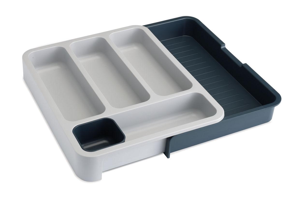 """Органайзер для столовых приборов Joseph Joseph """"DrawerStore"""" выполнен из прочного цветного пластика. С ним ваши столовые приборы всегда будут на своем месте. Органайзер имеет 4 вытянутые ячейки для столовых и чайных ложек, вилок и ножей, а также отдельный лоток для мелких насадок и кухонных принадлежностей. Органайзер раскладывается. Выдвижной ящик создает дополнительное пространство для хранения крупных приборов, таких как лопатки, венчики, шумовки и т.д. Благодаря своим размерам он удобно впишется в стандартный кухонный выдвижной ящик. Замечательный органайзер-лоток для хранения столовых приборов поможет навести на кухне полный порядок и расставить все по местам."""