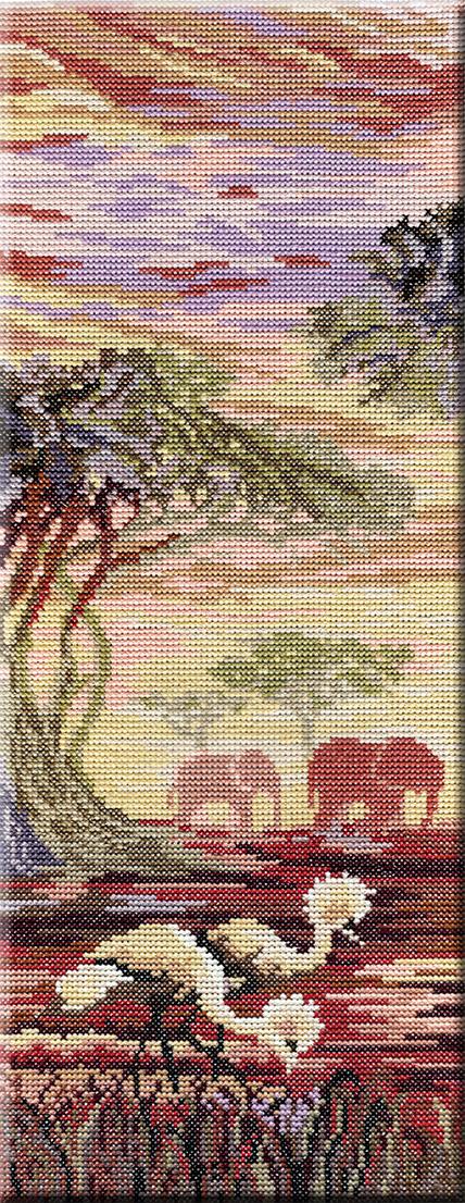 """Набор для вышивания крестом М.П.Студия """"Триптих. Слоны, 1 часть"""", 38 х 15 см НВ-194"""