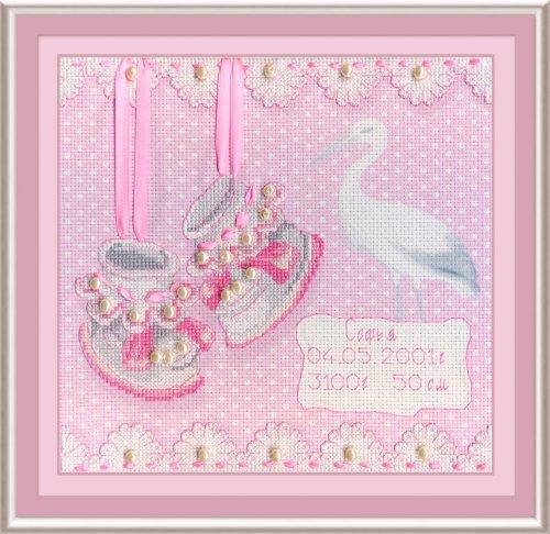 """Набор для вышивания крестом М.П.Студия """"На рождение девочки"""", 20 х 20 см РК-315"""